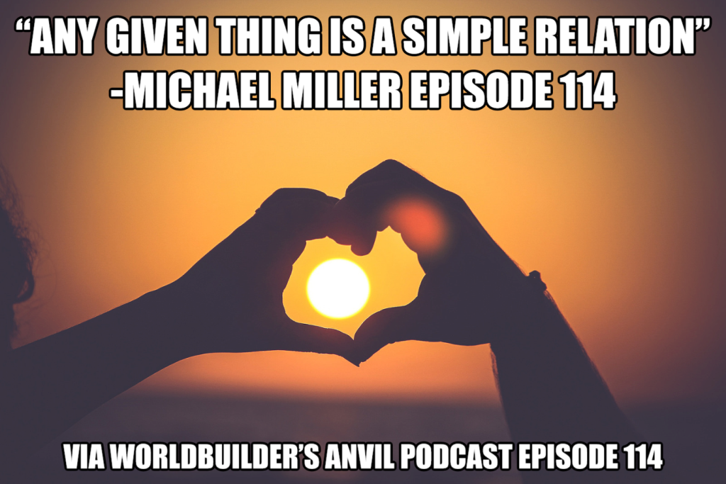 """Any given thing is a simple relation"" -Michael Miller Episode 114"