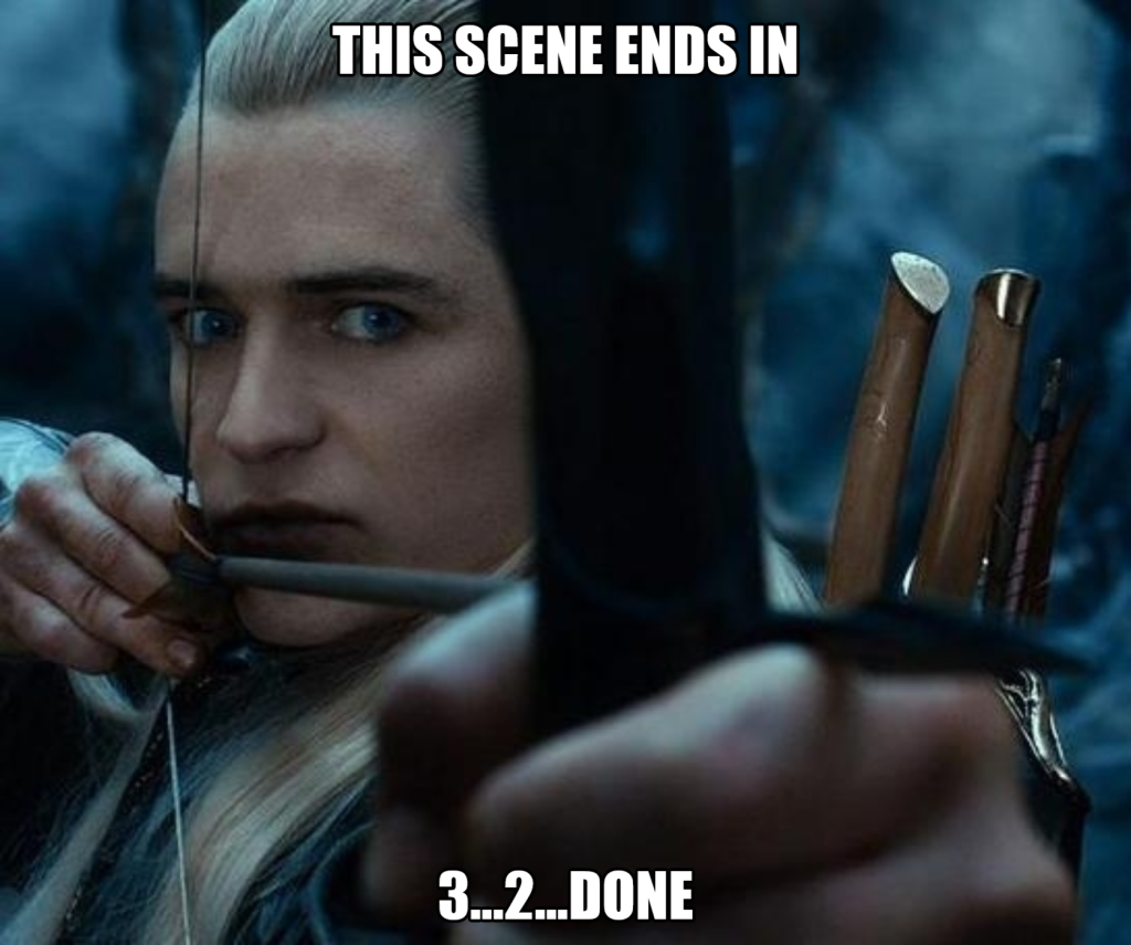 Legolas ends a fight scene